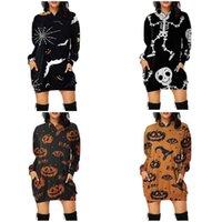 Herbst- und Winter-Frauen Hoodie Halloween-Kürbisse Ghosts-Schädel-gedruckte Hoodie-Langarm-Sweathirts Casual Sport-Pullover-Tops G80trr0
