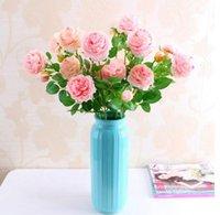 Bouquet 3 tête pivoine pivoine artificielle fleurs pivoine fleur de soie floral bouquet de mariage décoration chute vive faux décor maison guidons décoratifs