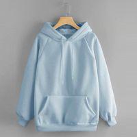 Feitong Sweatshirt 2021 Women's Casual Solid Hooded Pocket Long Sleeve Pullover Top Blouse For Female Streetwear Hoodies & Sweatshirts