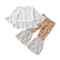 kids Clothing Sets Girls outfits Children Flare Sleeve Lace cardigan Tops+daisy Flared pants 2pcs set Spring Autumn fashion Boutique baby Clothes
