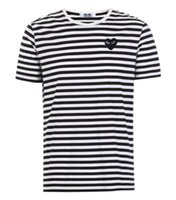 CDG Play Crches Mene Designer مع Heart Sport Tee Shirts des Garcons White Pablo Stripe for Summer Vetements