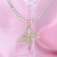 Hollow Butterfly Iced Out CZ Tennis Chain Necklaces Collar For Women Gold Silver Color Crystal Animal Pendant Necklace Jewelry