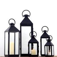 Weiche Zeit Europäische Einfache Retro Eisenglas Kerzenständer Winddicht Windleuchte Romantische Hochzeit Dekoration Courtyard Kerzenhalter
