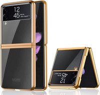 Designed for Samsung Galaxy Z Flip 3 5G Cases, Plating Frame Clear Cover, Ultra Thin PC Hard Anti-Scratch Full Protection Case-Gold