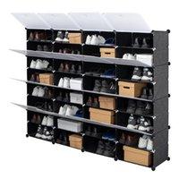 WACO 64ペア積載可能な靴収納オーガナイザーラック、プラスチック引き出し折りたたみ式シューズ棚キャビネット、積み重ね式セパレーター組み立てシェルフタワー、8層、