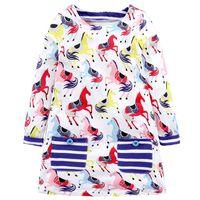 Девушка платья кисбини девочек платье весна осень детский мультфильм хлопок с длинным рукавом с карманными детьми трикотаж для одежды