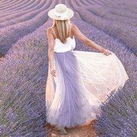 Skirts Women Fashion Purple Mesh A-Line Long Skirt Lady Summer Fall Casual High Waist Ballet Maxi