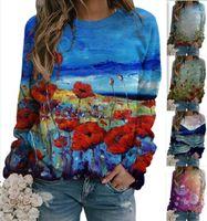 Camisola para mulheres 2021 primavera nova moda solta redonda gravata tintura tintura colorido 3d impresso ms fleece mulheres