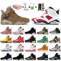 Nike Air Jordan 6 6s Retro Travis Scott 6 2020 con Box Jumpman di pallacanestro del Mens scarpe di rasoGiordaniaDMP Infrared Retro Travis Black Men formatori Sneakers