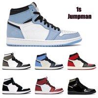 Top Quality Jumpman 1 1S Hight Cut Travado Obsidiano UNC Shoes Mens Mulheres Basquetebol Sapatos Banned Criado dedo-Tee Chicago Menina Menina AJ1 AirforceOne Sneakers