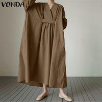 Casual Dresses Party Long Maxi Dress Women Bohemian Sundress V Neck Sleeve Robe Femme VONDA Vestidos Elegant Plus Size