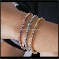 Wedding Bracelets Jewelrym Cz Diamond Bangle Classical Jewelry Hip Hop Tennies Bracelet 18K White Gold Fill Three Color Party High Quality W