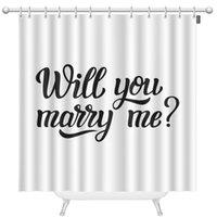 ¿Te casarás conmigo de tela extra larga cortina de ducha 72 x 96 pulgadas mano letras tipografía texto familia o hogar para la decoración de la boda