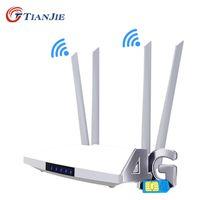 Tianjie 4G LTE CAT4 Wi-Fi модем SIM-карта GSM маршрутизатор беспроводной пятно Главная 300 Мбит / с 2 RJ45 LAN WAN порта крытый CPE 32 пользователей 210607