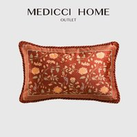 Pillow Case Medicci Hem Accent Cushion Cover Burgundy Red Velvet Blomblommig Bird Print Kasta Bäddsofa Bäddsoffa