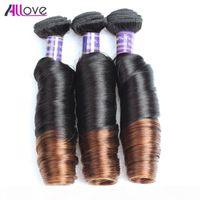 10A Brasileño de resorte Curl Ombre T1B 4 3bundos con cierre Peruano Virgin Hair Malasian Primavera Curl Indian Human Hair Bundles Tejidos