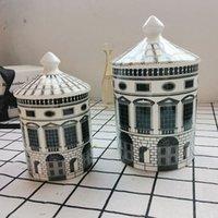 36pcs Cerâmica Castiçal Titular 19 * 12 * 10 cm DIY Handmade Castle Candy Jar Vintage Storages Bins CAFT Decoração Home Caixas De Armazenamento Jewerlly UPS