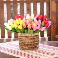 Flores decorativas guirnaldas 7 cabezas pu artificial táctil real tulipán tulipán flor para casa boda fiesta decoración de mesa decoración ramo