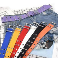Belts Fashion Harajuku Women Belt Adjustable Black Double Single Eyelet Grommet Metal Buckle Leather Waistband For Jeans