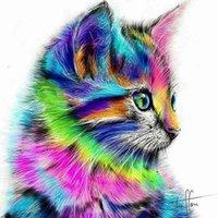 YNX 5D Çizim Yuvarlak Çapraz Dikiş Kare Güzel DIY Renk Kedi Elmas Boyama