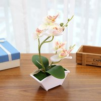 Artificial Butterfly Orchid Fake Flower Leaves Flowerpot Home Office Wedd Decor Decorative Flowers & Wreaths