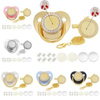 Pacifiers # 10 Установка Baby Passifier и CLIPS Custom Personalized Blank Golden Bling Silicone Minal Nabled Sublimation Dummy Round
