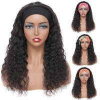 Kinky Curly Headband Wig Natural Color Brazilian Straight Body Deep Water Wave Human Hair None Lace Wigs for Black Women
