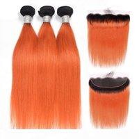 Brasilianisches Jungfrau-Haar 3 Bündel mit 13x4-Spitze-Frontal mit Babyhaar 1b Orange Ombre Straight Hair Funkte mit 13 von 4 Frontal Free Part