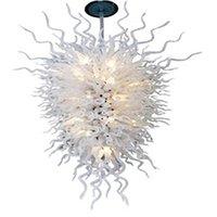Pendentif Lampes modernes Chandeliers en verre soufflé à la main Éclairage blanc Couleur 36 par 54 pouces LED lumières lumpulaires grand lampe salon décoration -l