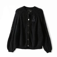Women Female Wool & Mohair Knit Cardigan Sweater Top - Ladies High Quality Long Sleeve O Neck Jumper