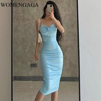 Casual Dresses WOMENGAGA Y2k Sexy Bag Hip Dress Women Off The Shoulder Bodycon Solid Color Over Knee Europe And America Q3W0