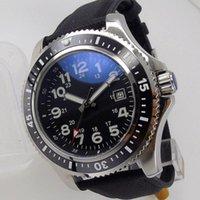 Наручные часы 44 мм Япония Miyota 8215 Мужские Автоматические часы Жум Индекс Черный Лицо Керамическая Вставьте Кожаный Ремешок Дата Окна Блигер Бренд