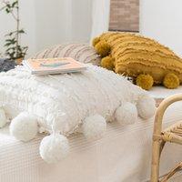 الأبيض الأزهار الشرابة وسادة غطاء مع pompom الأصفر رمادي الزخرفية وسادة غطاء ديكور المنزل رمي وسادة القضية 45x45 سنتيمتر ood5705