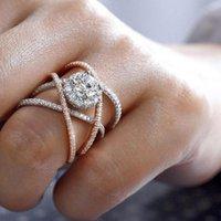 Wedding Rings Luxury Women'S Two-Tone Rhinestone Shining 2021 Fashion Lady Chic Party Engagement Trendy Twisted Size 5-11