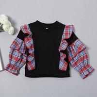 Shirts 2021 Arrival Spring Fashion Children Clothes Baby Girls Jumper Ruffles Plaid Sweatshirt Hoodie For Kids Shirt