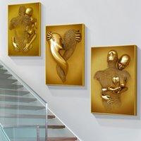 Dipinti in metallo dorato figura statua scultura arte Poster stampa astratta amante tela sulla parete immagini per la decorazione domestica