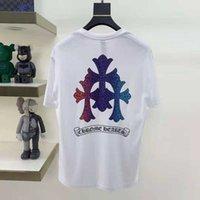 Chao Marka Crosin Horseshoe Sanskriti Çapraz Renkli Baskı Kısa Kollu T-Shirt Erkekler Ve Kadın T-Shirt Yarım Kollu Ins