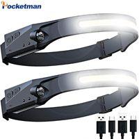 헤드 램프 50000LM 강력한 모션 센서 COB LED USB 충전식 헤드 라이트 내장 배터리 헤드 램프 방수 빛