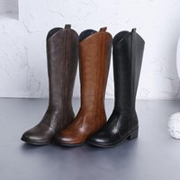 Boots Big Size Shoes Woman Low Heels Booties Zipper Round Toe Luxury Designer Boots-Women Large Fashion 2021 Ladies Leather