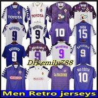 1998 1999 2000 Retro Fiorentina Futbol Formaları Batistuta Rui Kosta Özel Vintage 92/93 Floransa Ev Uzun Futbol Gömlek Camisas de Futebol