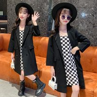 Coat 2021 Autumn Teenage Girl Trench With Suspender Dress 2 Piece Full Sleeve Fashion Black Long Jackets For Kids