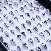 Atacado 100 pcs / lote anel de banda prata coração oco amor coroa flor mistura estilo moda dedo anéis para mulheres casamento jóias