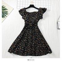 Повседневный стиль женщины с коротким рукавом платье бабочка галстук эластичная талия взволнованная печать дрожание летние тонкие мини платья свежие девушки одежда