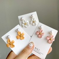 Pearl Dangle Flower Earrings for Women Candy Color Pink Yellow White Cute Small Korean Romantic Party Jewelry