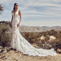 Other Wedding Dresses Silky Organza Vestido De Noiva Luxury Lace Mermaid Bride Dress 2021 Bridal Gown Sexy V-neck Backless Robe Mariee1