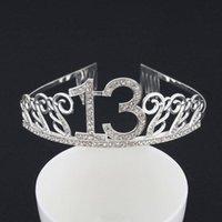 Rhinestone 13 Geburtstag Tiara Crown Stirnband Kuchen Topper für Mädchen Happy 13th Princess Party Decoration Versorger Favoriten