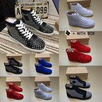 2021 homens mulheres vermelhas fundo luxo sneakers cravejado designer sapatos para alta top preto branco espinhos de couro genuíno tênis de rebite casual