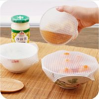 주방 스토리지 조직 4pcs / 세트 재사용 가능한 실리콘 스트레치 뚜껑 그릇 커버 진공 포장 씰 컨테이너 신선한 유지