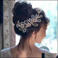 Clips & Barrettes Jewelry Jewelrysier Gold Alloy Leaf Crystal Bride Headwear Wedding Aessories Girl Prom Tiara Bridesmaid Hair Ornaments Wit