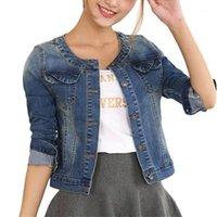 İlkbahar Sonbahar Denim Ceket Kadın Artı Boyutu Uzun Kollu Kot Ceket Bayan O Boyun Mont Elastik Kısa Baz Coats 4XL F6701
